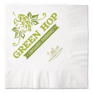 100% Recycled White Coin Edge Embossed 2-Ply Beverage Napkins (Grand Line)